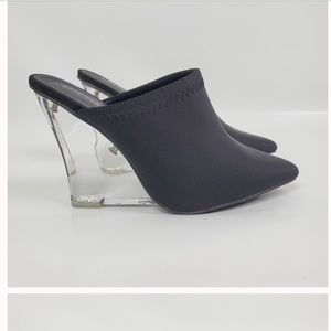 Amazing black wedges with clear heel